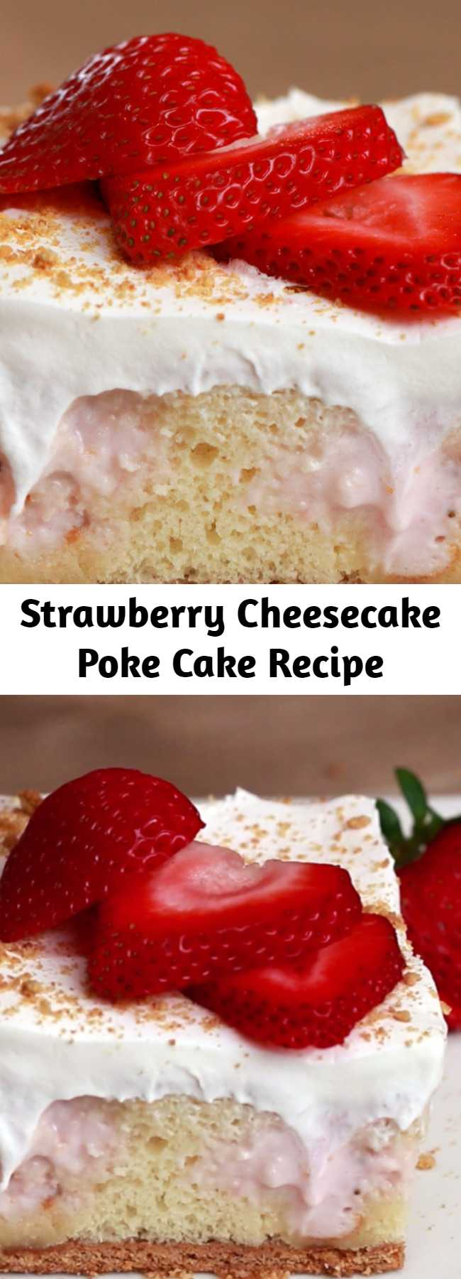 Strawberry Cheesecake Poke Cake Recipe - If you're stuck in a dessert rut, poke cake is just the recipe you need to try. It's low-maintenance to bake, and it's always a crowd pleaser. Poke holes using the back of a wooden spoon into a simple vanilla cake base, then cover the cake with a mixture of strawberries, cream cheese, and condensed milk. Once the cake is done chilling, it'll be filled with pockets of sweet berry deliciousness.