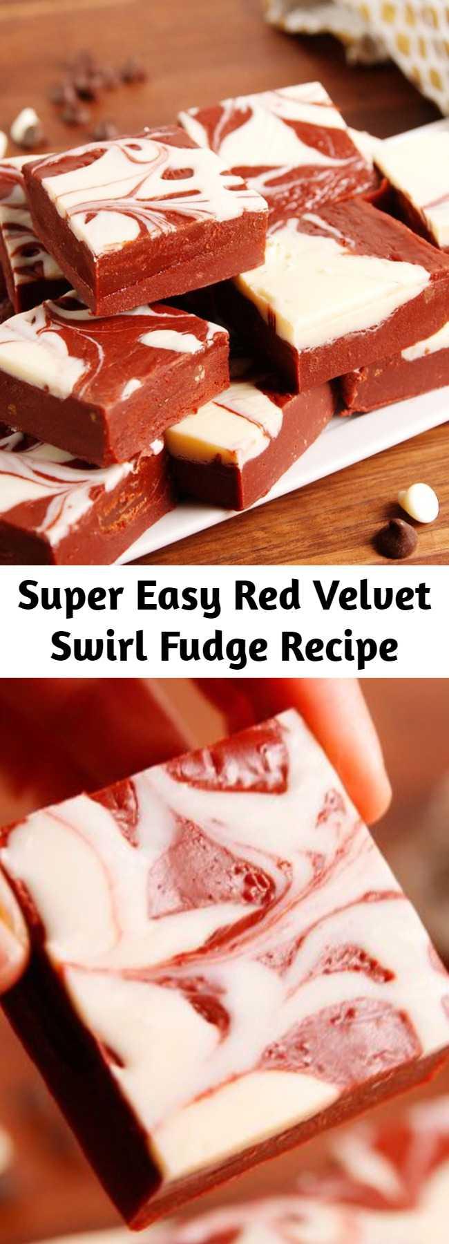 Super Easy Red Velvet Swirl Fudge Recipe - Upgrade your fudge game with this super easy recipe for red velvet swirl fudge. As pretty as it is tasty!
