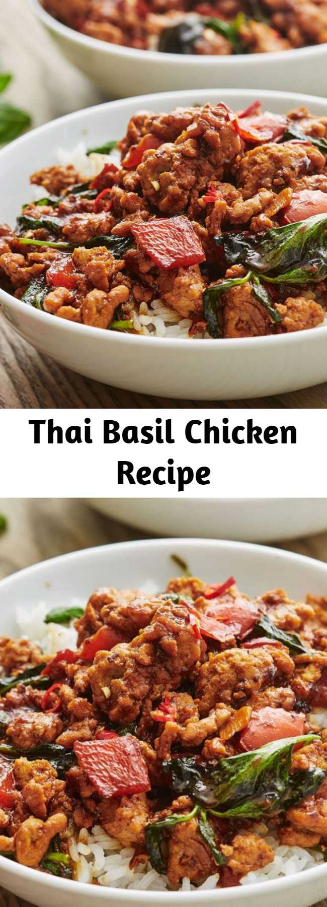 Thai Basil Chicken Recipe - The sauce on this is incredible; don't be anxious about the fish and/or oyster sauces, they lend a bright, salty flavor that isn't fishy at all. Cook up a heaping mound of white rice, spoon a ton of this over the top, and you're set!