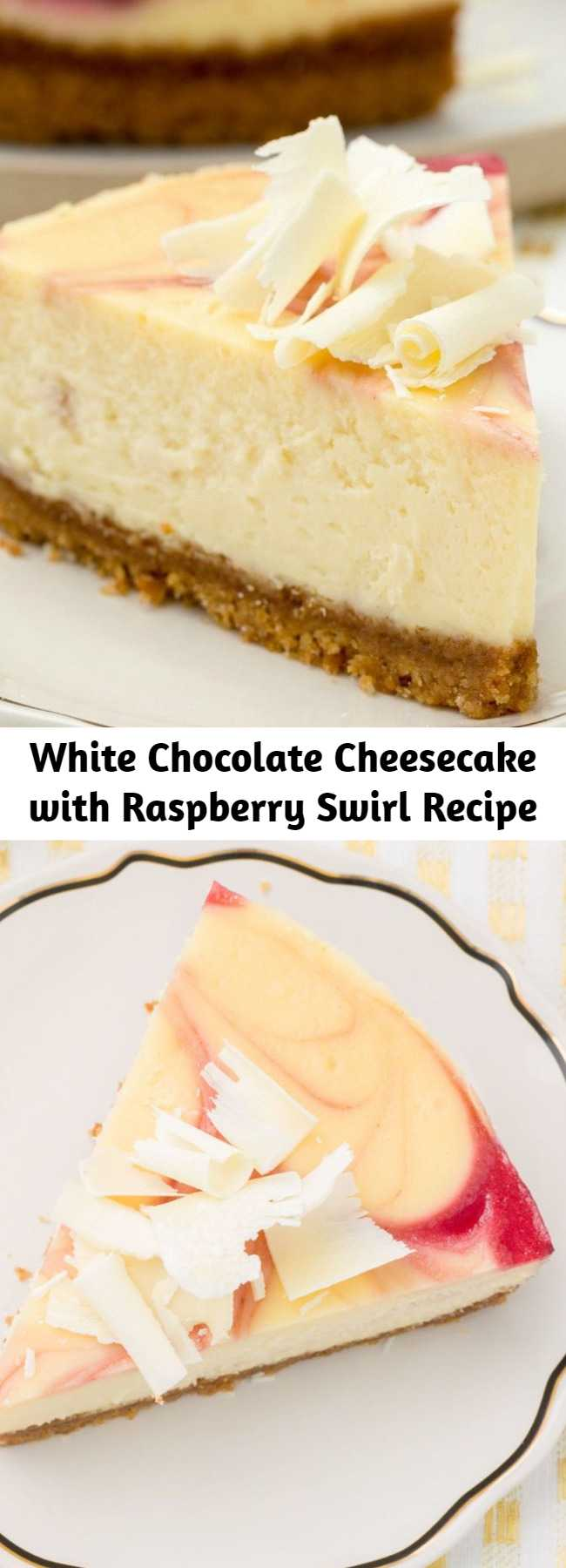 White Chocolate Cheesecake with Raspberry Swirl Recipe - With a decadent raspberry swirl, this cheesecake looks as decadent as it tastes.