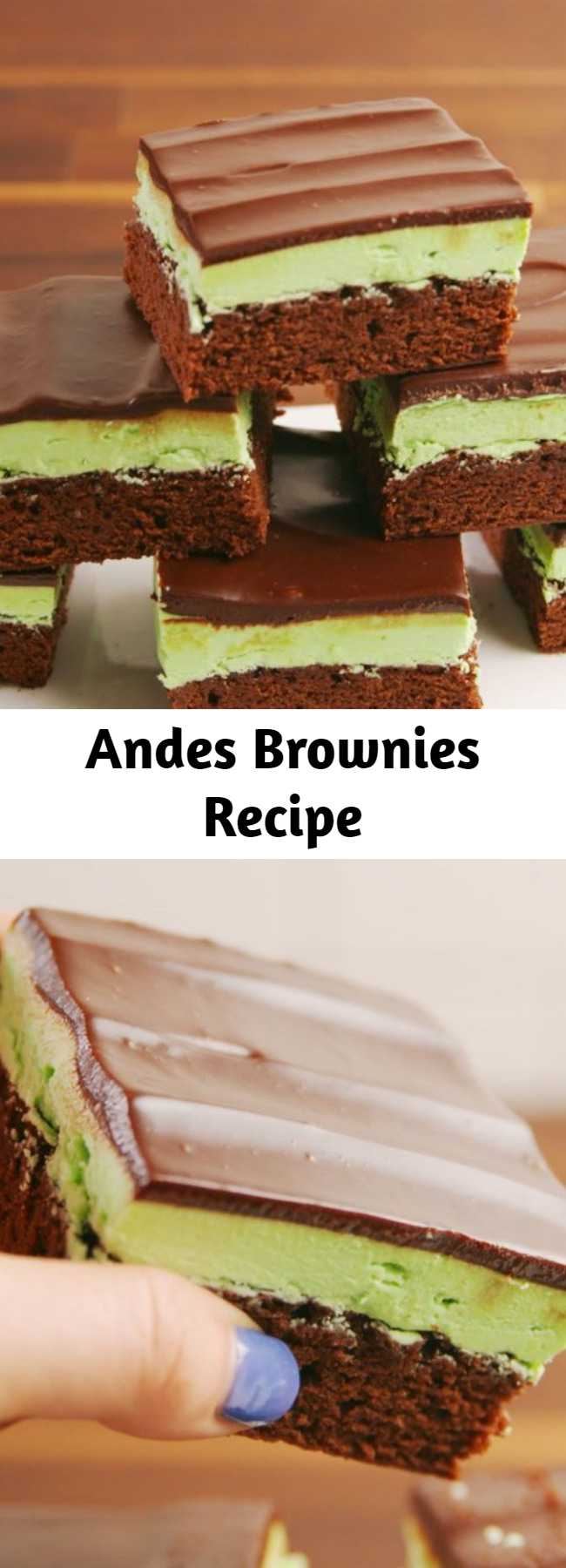 Andes Brownies Recipe - A brownie that looks and tastes like Andes Mints are a dream come true. A decadent brownie for the avid mint and chocolate lover.