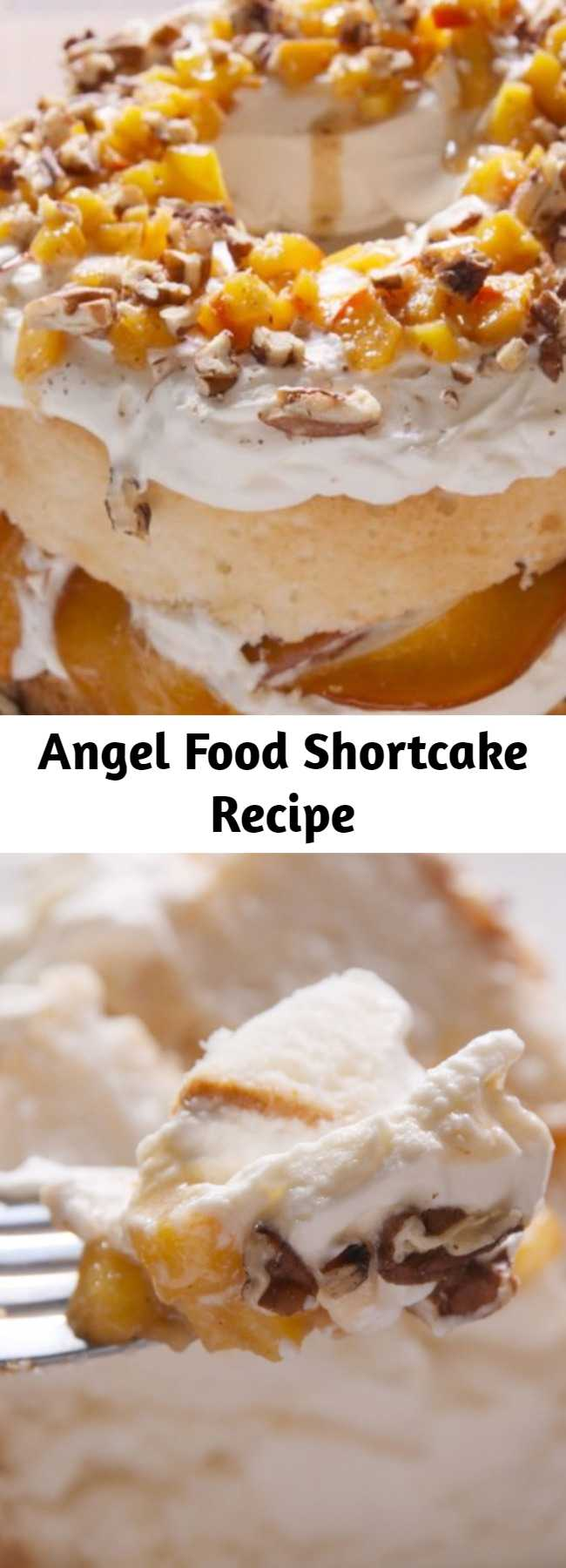 Angel Food Shortcake Recipe - You'll be feeling heavenly with this Angel Food Shortcake recipe. This peaches and cream angel food cake is truly divine 😇.
