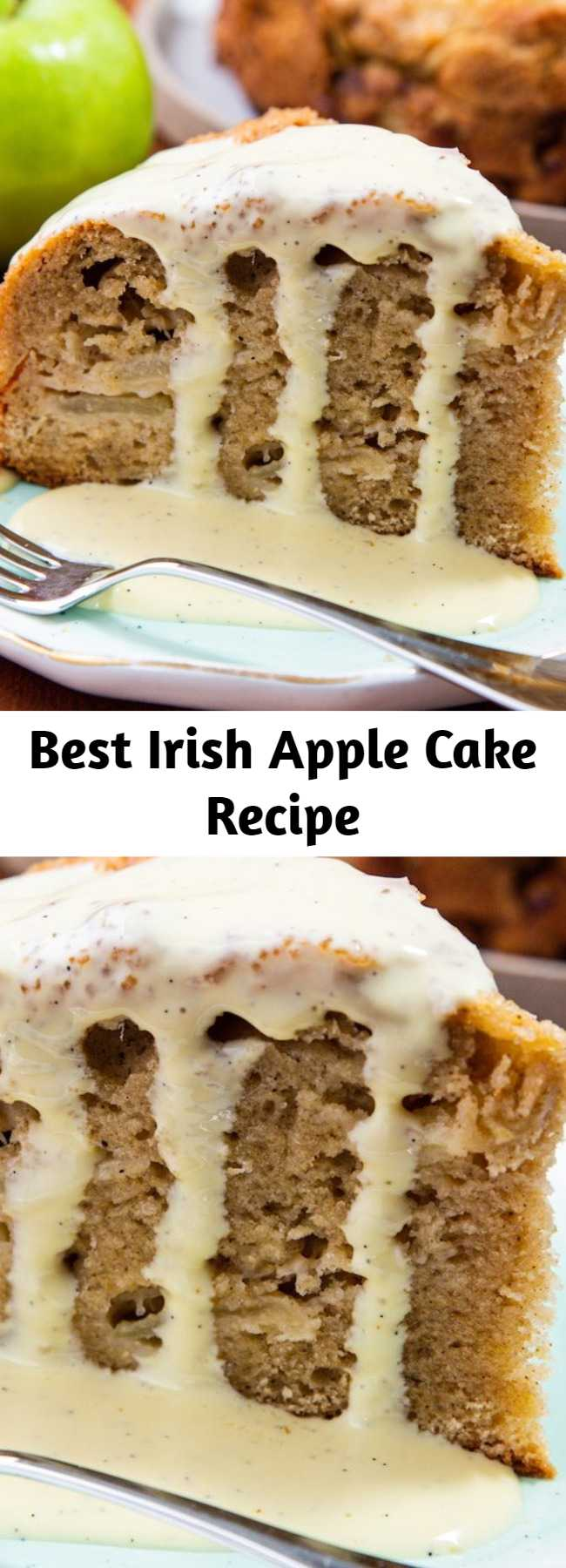 Best Irish Apple Cake Recipe - A classic cake boasting tons of apples, lots of warm spices, a crispy sugar topping, and a rich vanilla custard sauce. This tender cake is jam-packed with apples, which is why we think it's perfectly appropriate to eat a slice for breakfast. 😉