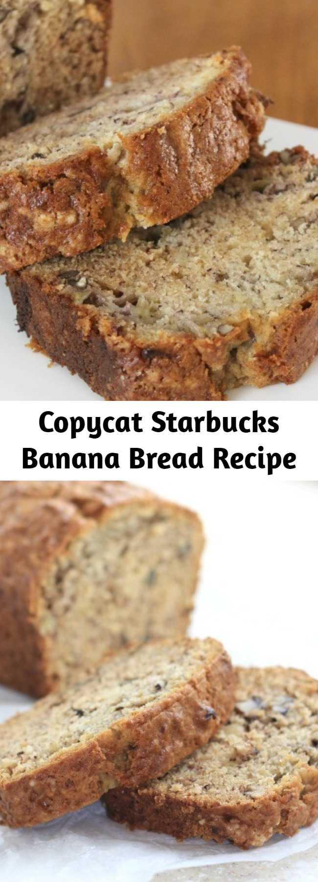 Copycat Starbucks Banana Bread Recipe - This recipe is actually from Starbucks directly so hopefully you like it as much as we do! This one is simple to make, packed with banana and is delicious plain, with nuts or add some chocolate chips for a real treat.