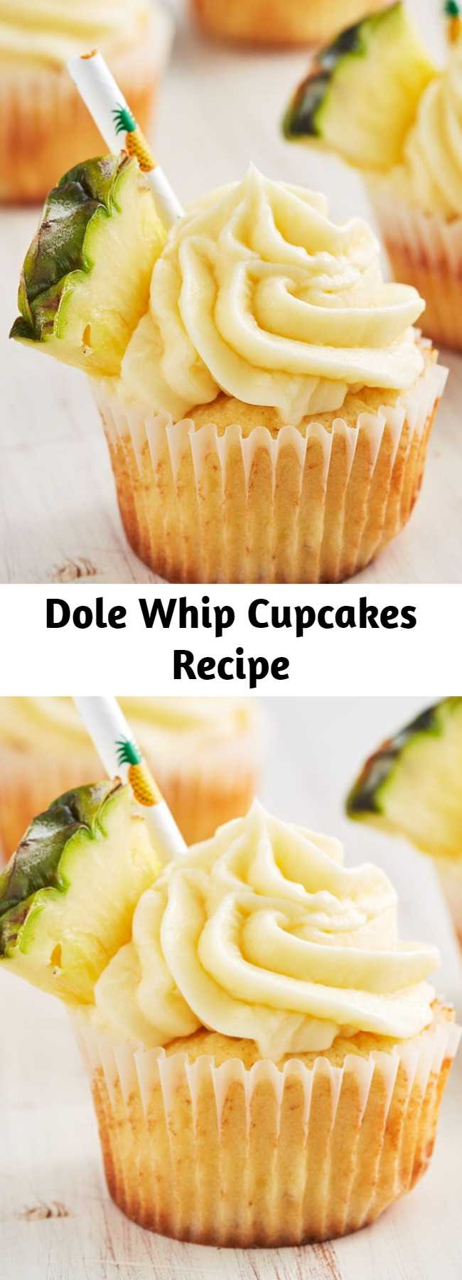 Dole Whip Cupcakes Recipe - Dole Whip has a cult following and we get it. It's the most refreshing thing after waiting in insanely long lines all day. Well now you don't have to travel to Disney for it and the cupcake version is even better.