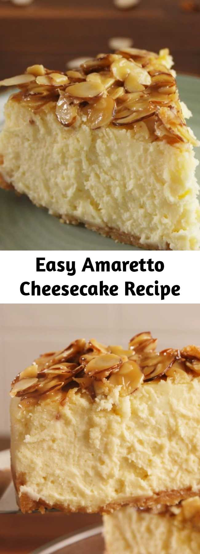 Easy Amaretto Cheesecake Recipe - If you love almonds, you need this cheesecake. This is the perfect pairing. #easy #recipe #amaretto #almond #cheesecake #dessert #vanilla