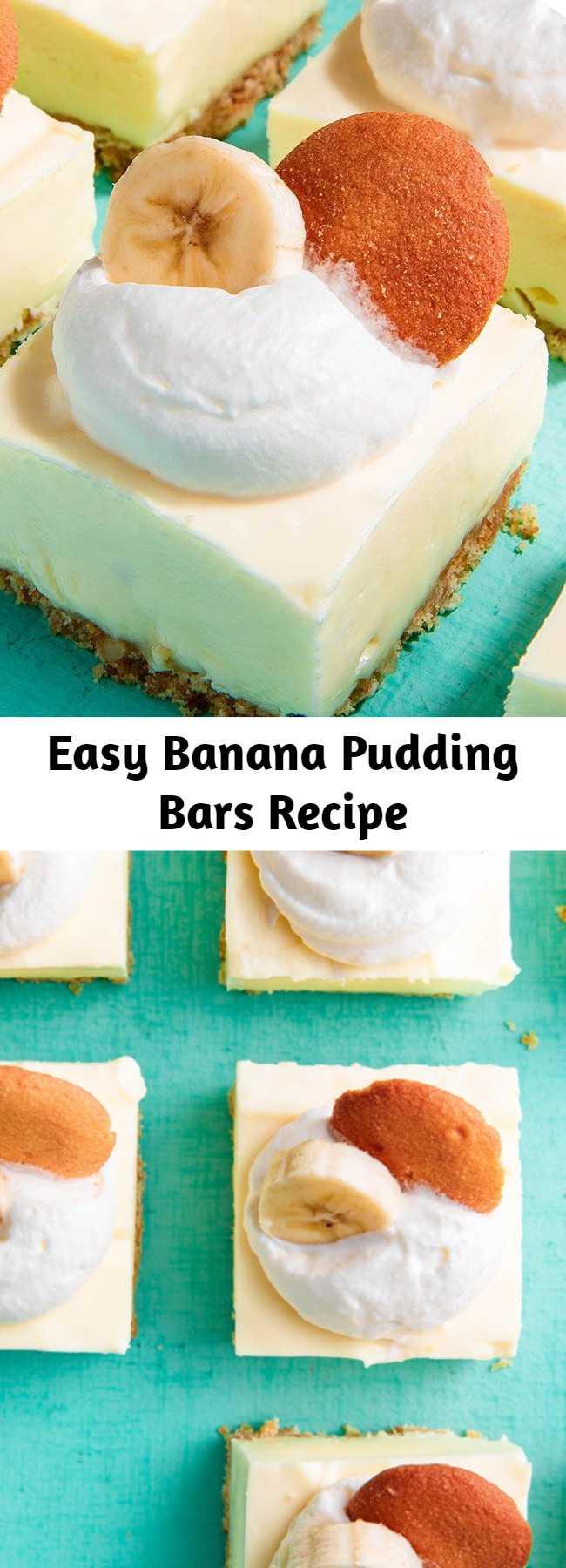 Easy Banana Pudding Bars Recipe - Good luck just having one of these Banana Pudding Cheesecake Bars #banana #cheesecake #dessert #nobake #recipe #dessert #easyrecipe #bananapudding #pudding