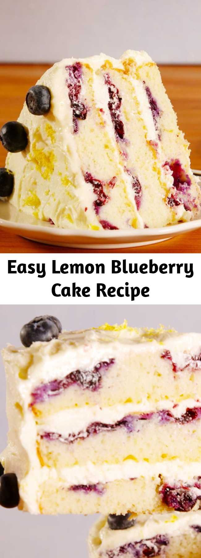 Easy Lemon Blueberry Cake Recipe - This lemon blueberry cake is the only thing you need to bake this spring. #easy #recipe #dessert #dessertrecipes #cakerecipes #cake #lemon #blueberry #homemade #baking