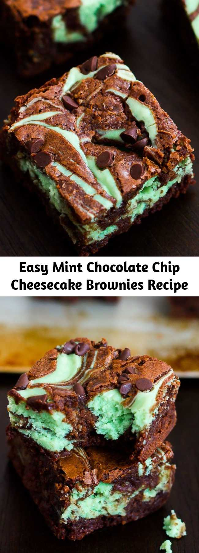 Easy Mint Chocolate Chip Cheesecake Brownies Recipe - Swirly, twirly, fudgy, minty, cheesecake goodness. I love these decadent mint chocolate brownies!