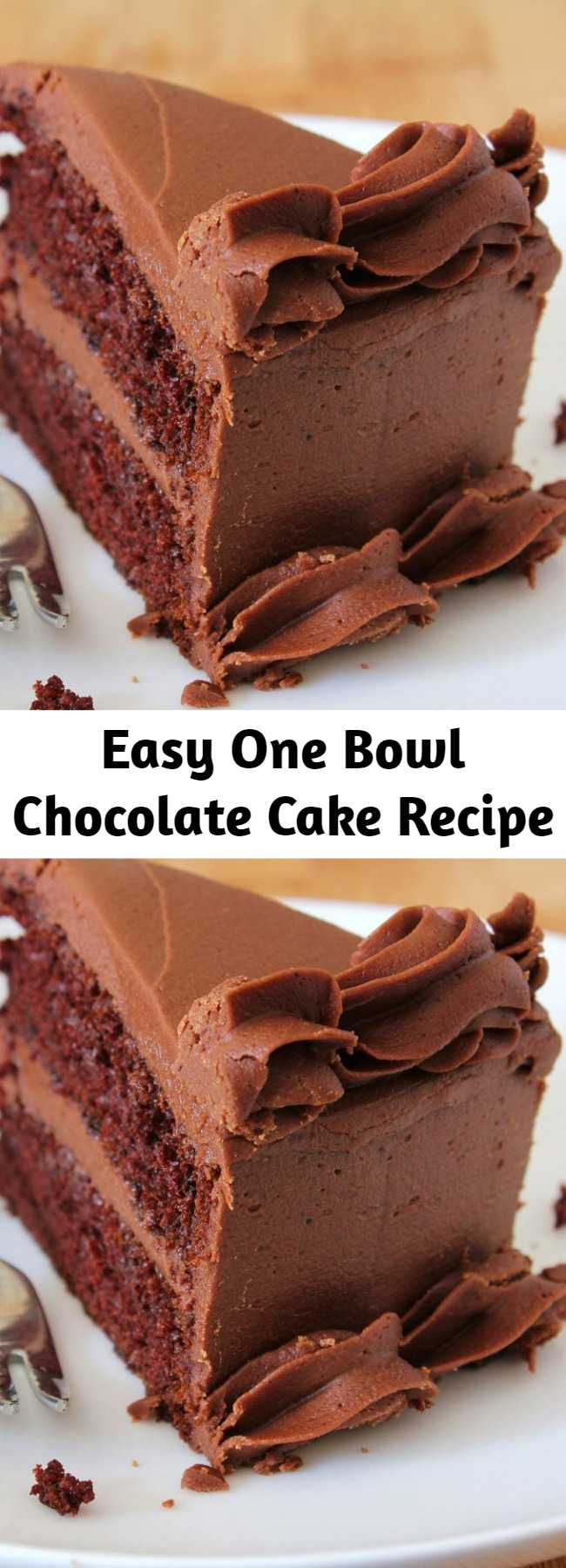Easy One Bowl Chocolate Cake Recipe - This is a rich and moist chocolate cake. It only takes a few minutes to prepare the batter. Frost with your favorite chocolate frosting.