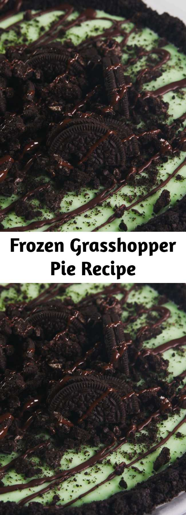 Frozen Grasshopper Pie Recipe - This Frozen Grasshopper Pie is the perfect refreshing dessert. Some crème de menthe is clear! If yours is, and you still want that lovely green hue, sneak in some green food coloring!
