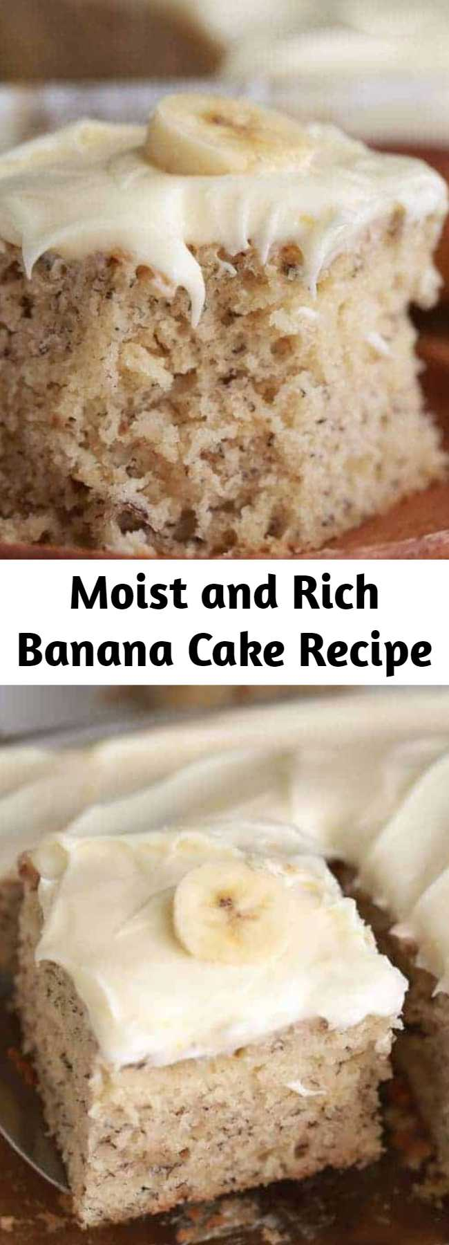 Moist and Rich Banana Cake Recipe - This Banana Cake is soft, moist and rich all at the same time! Once cooled this cake is topped with a totally irresistible lemon cream cheese frosting for a perfect dessert your family will love.