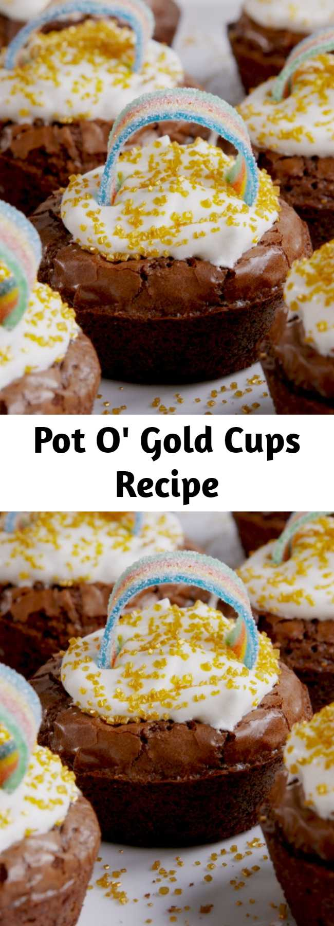 Pot O' Gold Cups Recipe - Pop these little brownies in your mouth for good luck.