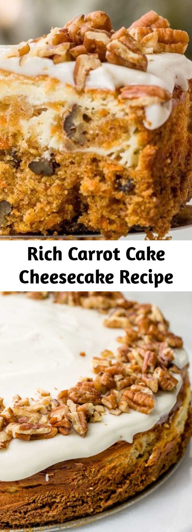Rich Carrot Cake Cheesecake Recipe - Mash-ups don't get much better than this. With classic carrot cake on the bottom and rich, creamy cheesecake on top, we can't think of a better Easter dessert.