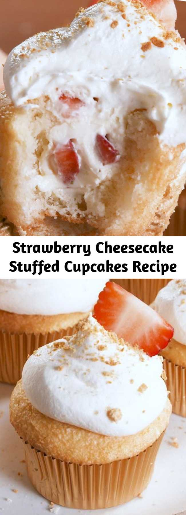 Easy Strawberry Cheesecake Stuffed Cupcakes Recipe - Strawberry Cheesecake STUFFED Cupcakes are your two favorite desserts in one. #recipe #easyrecipe #easy #dessert #dessertrecipe #baking #cheesecake #cheese #cake #whippedcream #berries #fruit #strawberries #cupcakes
