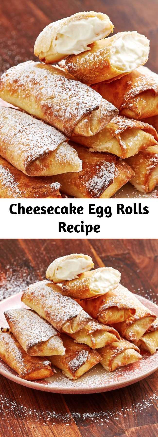 Cheesecake Egg Rolls Recipe - Crazy egg rolls are kind of our thing and we love this cheesecake version. The strawberry dipping sauce is mandatory because it is so good. You've never had cheesecake like this before.