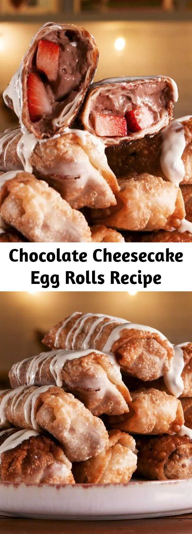Chocolate Cheesecake Egg Rolls Recipe - Craving chocolate cheesecake but don't have 8 hours to make one? Look no further. This Chocolate Cheesecake Egg Rolls are an absolute dessert WIN.