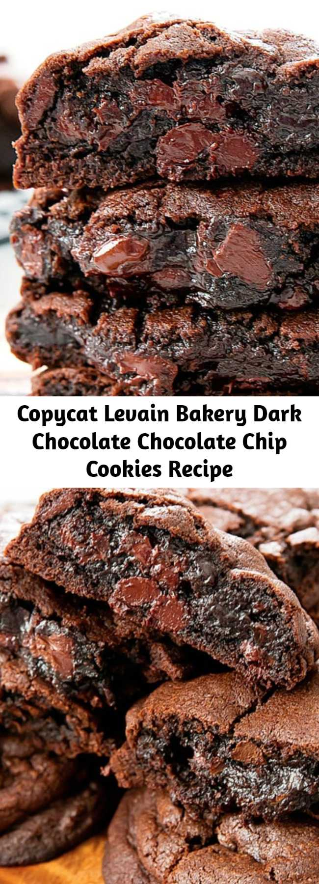 Copycat Levain Bakery Dark Chocolate Chocolate Chip Cookies Recipe - These decadent double chocolate chip cookies are thick, soft, and rich. They taste very close to the dark chocolate chocolate chip cookies from Levain Bakery in New York City.