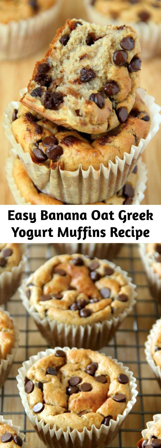Easy Banana Oat Greek Yogurt Muffins Recipe - Made with no flour or oil, these Banana Oat Greek Yogurt Muffins make for a deliciously healthy breakfast or snack!