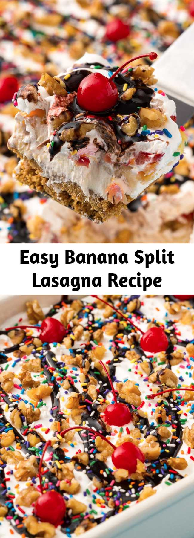 Easy Banana Split Lasagna Recipe - Looking for a fun summer dessert? This Banana Split Lasagna is the best! This no-bake dessert is hands down the most fun way to eat a banana split.