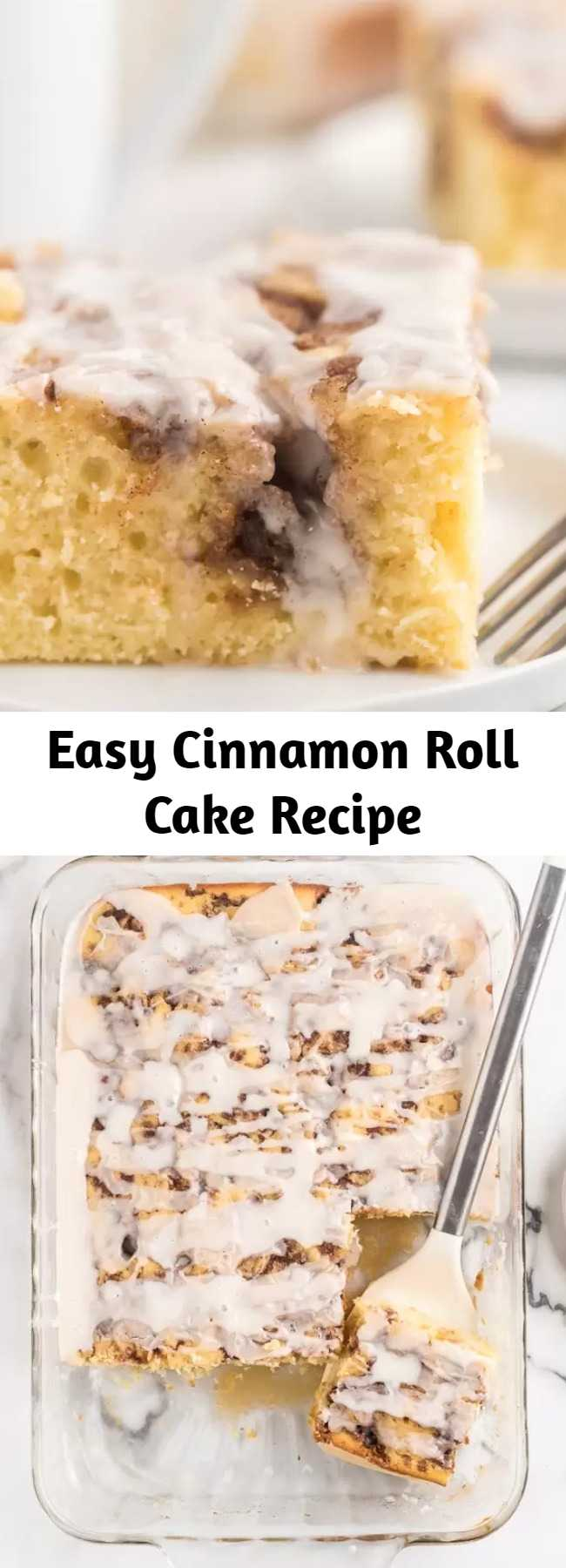 Easy Cinnamon Roll Cake Recipe - Here is a fun twist on a coffee cake recipe. This easy cinnamon roll cake recipe is the best. Get the taste of homemade cinnamon rolls without all the work. #cake #recipes #breakfastrecipes #easyrecipes