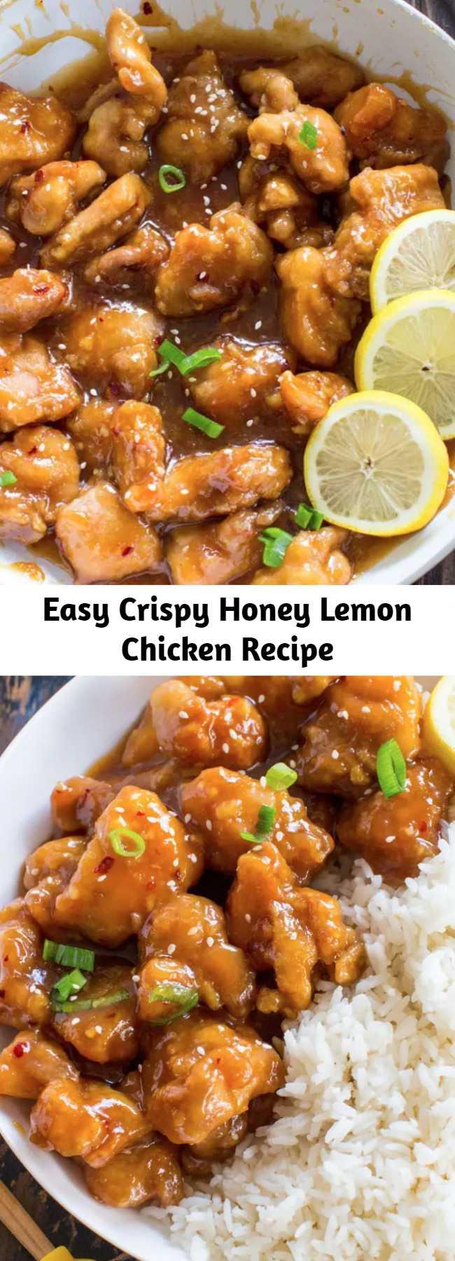 Easy Crispy Honey Lemon Chicken Recipe - Crispy Honey Lemon Chicken is a restaurant-worthy meal, that can be made at home in just 30 minutes! Crispy, sticky and full of honey lemon flavor.