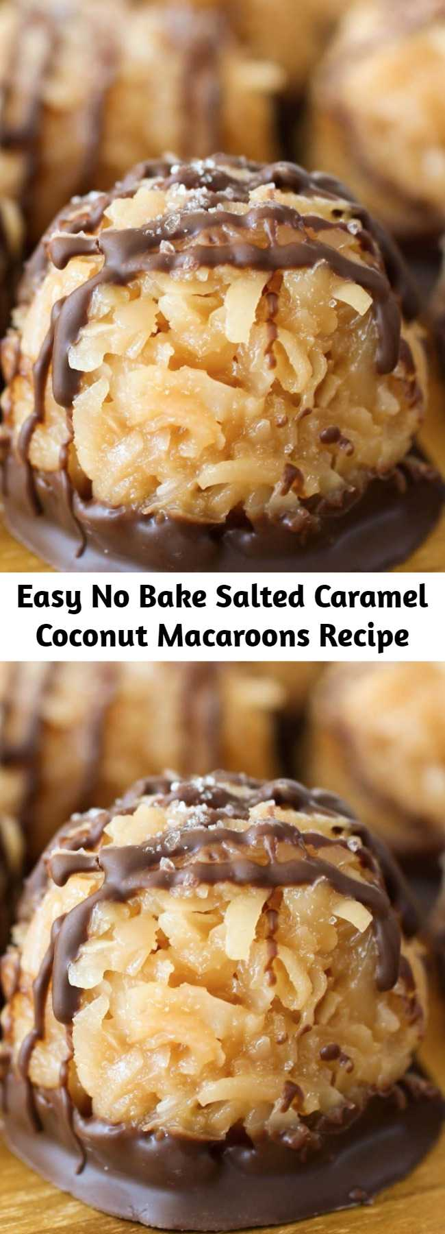 Easy No Bake Salted Caramel Coconut Macaroons Recipe - These No-Bake Salted Caramel Coconut Macaroons are so very easy that they may just become your go-to cookie recipe when you need something fast. Sweet coconut gets stirred into gooey caramel to form macaroons - then everything gets dipped and drizzled in chocolate. That's a lot of happiness to share!