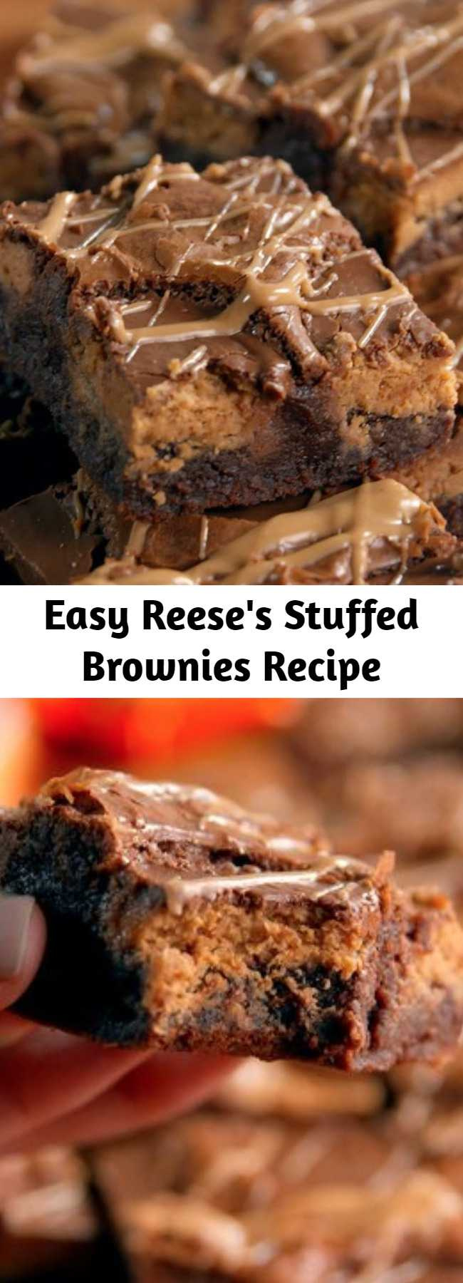 Easy Reese's Stuffed Brownies Recipe - Give your average brownies a major upgrade with this recipe for Reese's stuffed brownies. But seriously, how could they not be good?