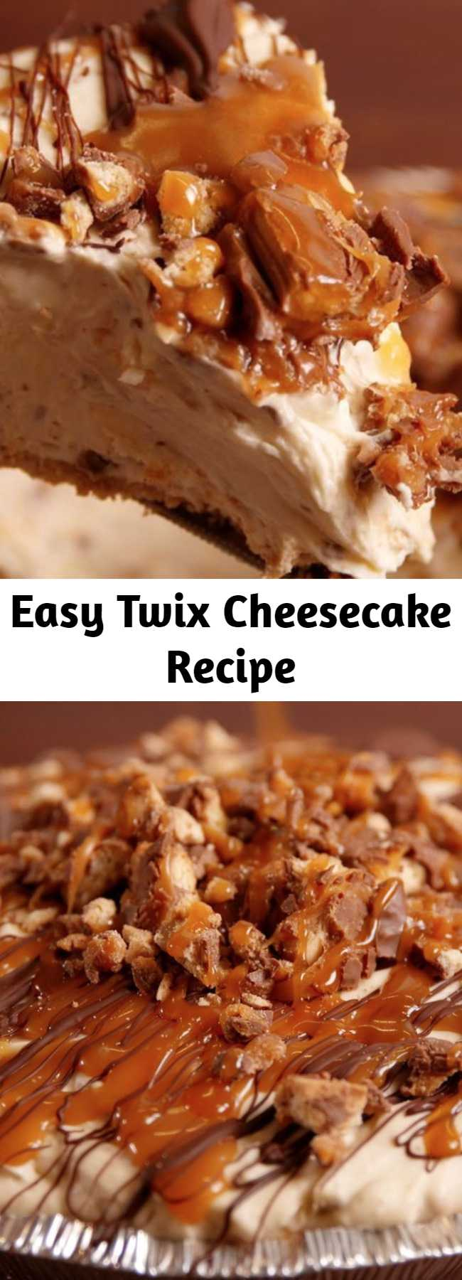 Easy Twix Cheesecake Recipe - Upgrade your cheesecake game with this easy recipe for Twix cheesecake. This cheesecake is a real crowd pleaser.