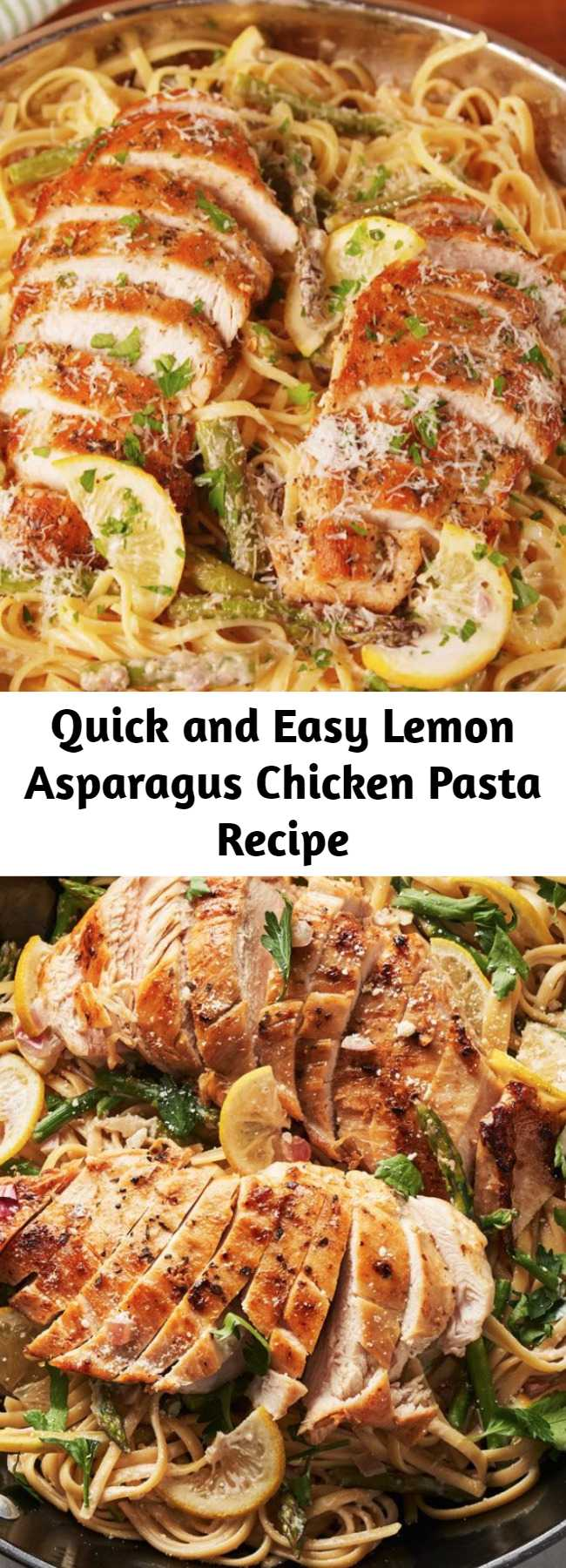 Quick and Easy Lemon Asparagus Chicken Pasta Recipe - This lemon asparagus chicken tastes like spring in the best of ways. #creamy #sauce #dinner #linguine #pasta #chicken #parmesan #asparagus #spring #veggies #onepot #lemon #quick
