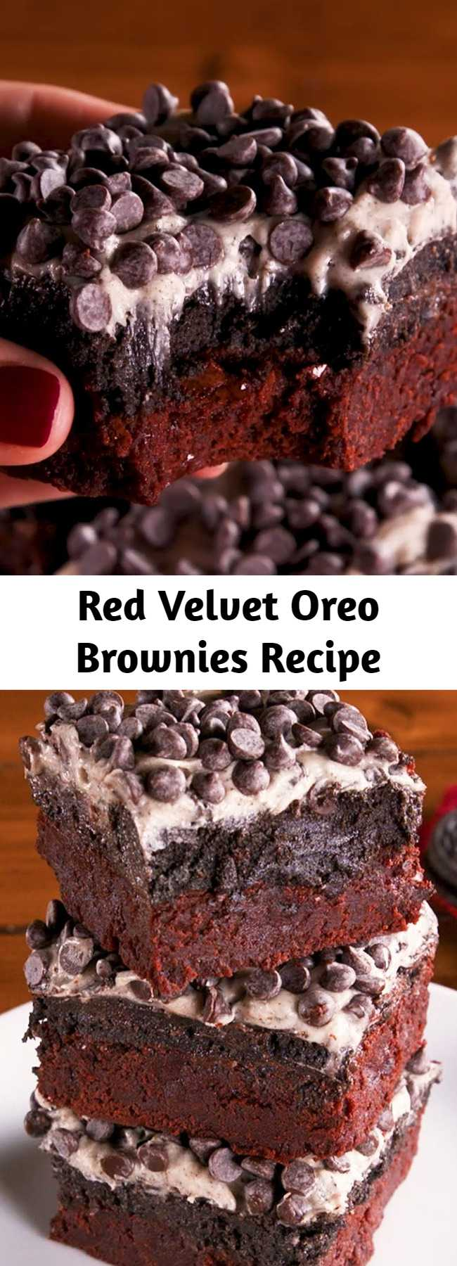 Red Velvet Oreo Brownies Recipe - Chewy red velvet brownies are topped with an Oreo truffle mixture, cream cheese frosting, and mini chocolate chips for layer after layer of decadence. It's a dream brownie that is now a reality. Oreo fans be prepared.