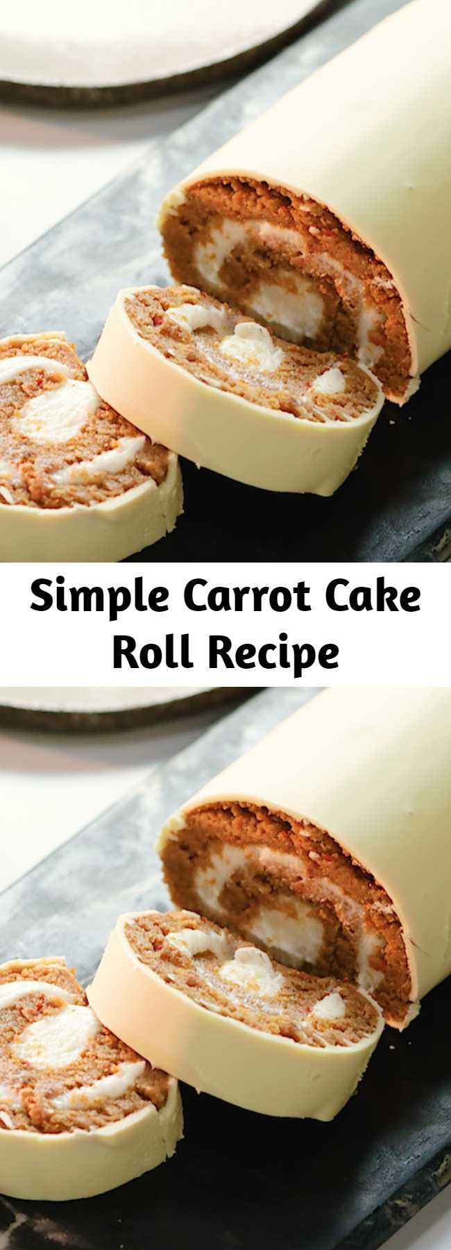 Simple Carrot Cake Roll Recipe - All the flavours of a classic carrot cake (quite literally) rolled into one! Our simple and sweet carrot cake roll cake recipe will leave you and the kids wanting more after every bite.