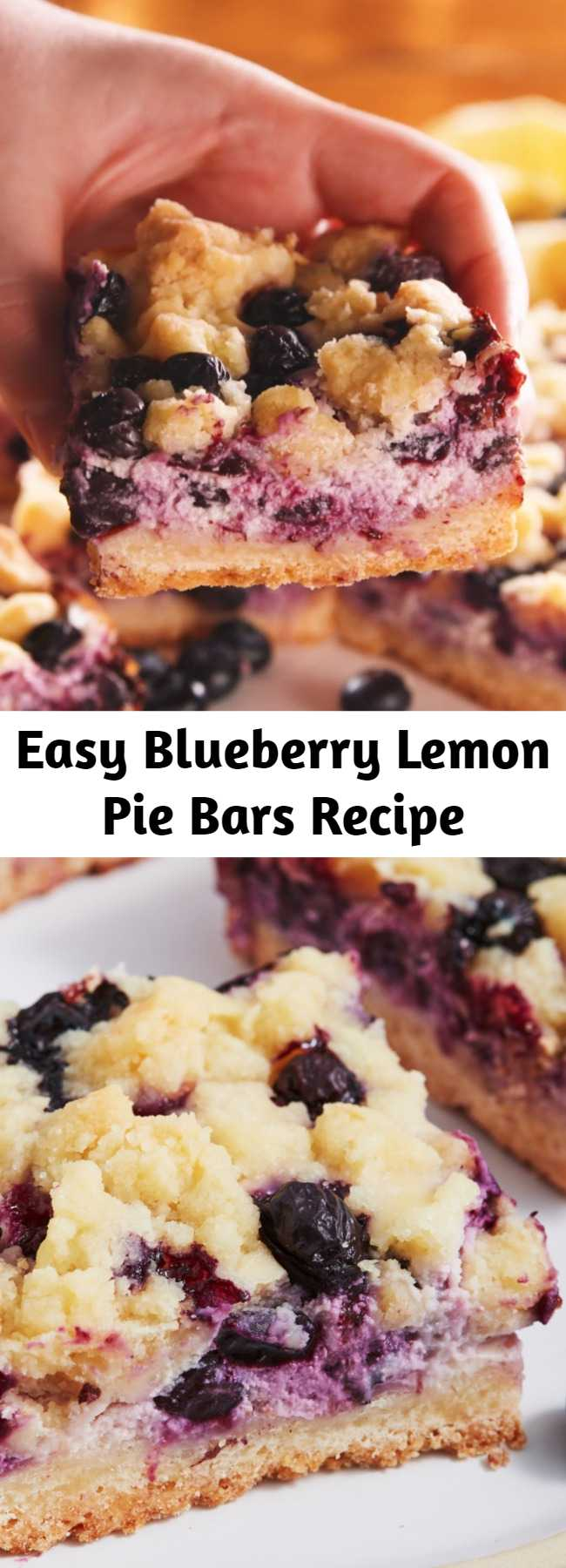 Easy Blueberry Lemon Pie Bars Recipe - Lemons and blueberries go together like spring and sunshine. They are the perfect combo and these cookie pie bars are our favourite yet! Zesty, creamy and with a steusel crumble topping, these flavoursome bars are like sunshine in cake form.