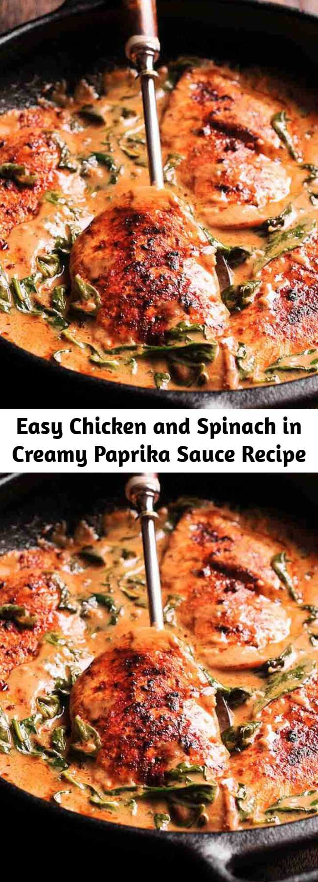Easy Chicken and Spinach in Creamy Paprika Sauce Recipe - Chicken and Spinach in Creamy Paprika Sauce is an amazing one-pan dish with an amazing flavor from white wine and mild tang from the fresh lemon juice.