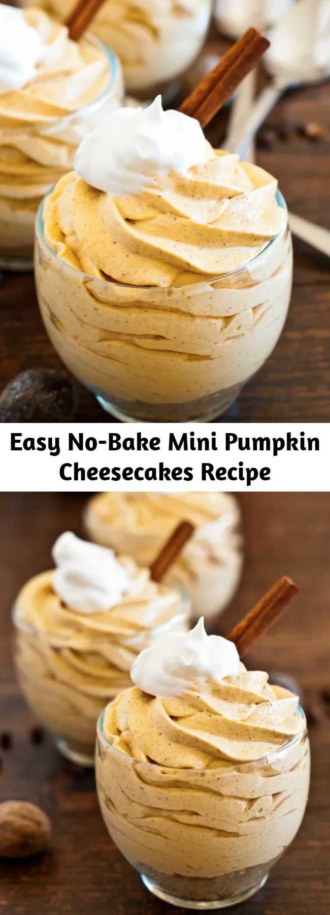 Easy No-Bake Mini Pumpkin Cheesecakes Recipe - These No-Bake Mini Pumpkin Cheesecakes are easy to make and so delicious! #PumpkinRecipe #pumpkin #cheesecake #FallDesserts