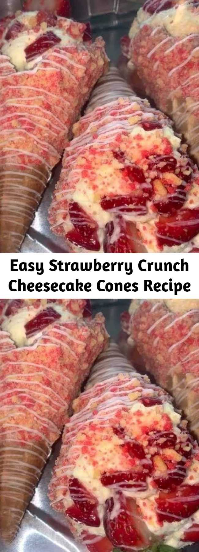 Easy Strawberry Crunch Cheesecake Cones Recipe - Omg, these are awesome. I have to head to the store because my kids are already asking again for some. A cheesecake made in the Instant Pot inspired by your favorite ice cream bar!