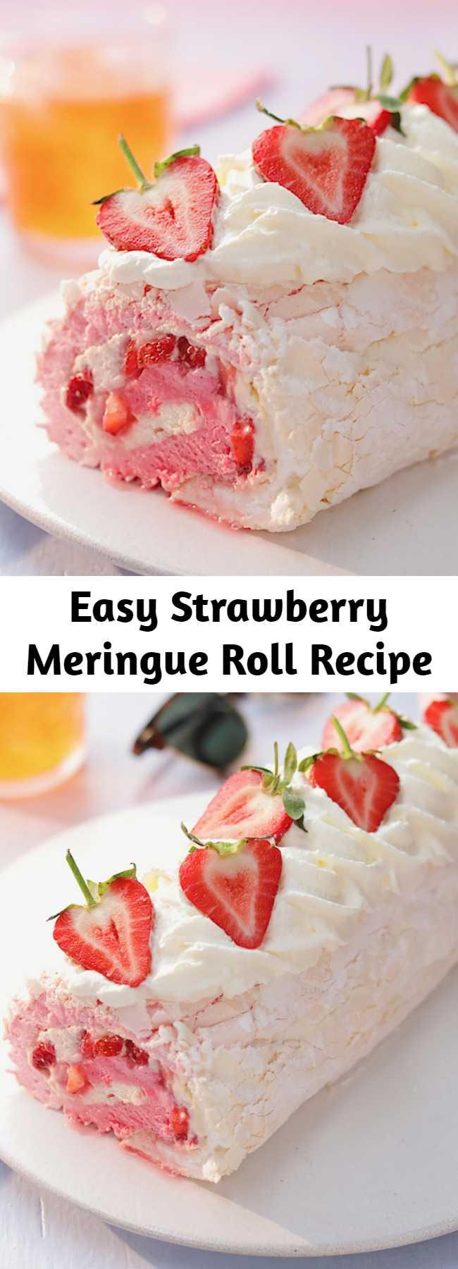 Easy Strawberry Meringue Roll Recipe - We've combined a pavlova and a swiss roll to make your ultimate fruity dessert! This strawberry meringue roll is a sure crowd pleaser.