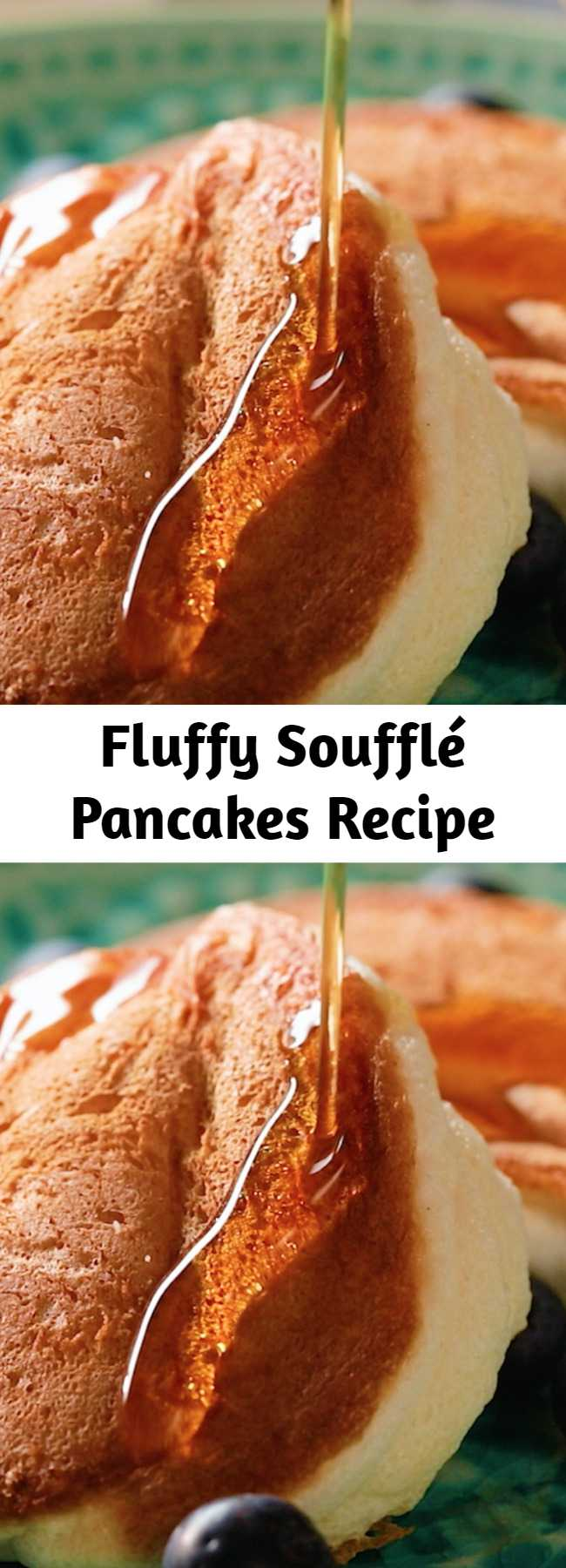 Fluffy Soufflé Pancakes Recipe - You've probably heard of Japanese pancakes. They're as fluffy as a cloud. We give you fluffy soufflé pancakes, a recipe you will never get over. Not only are they the tastiest, but they're also light as a feather! We won't blame you for topping them with bananas or strawberries.