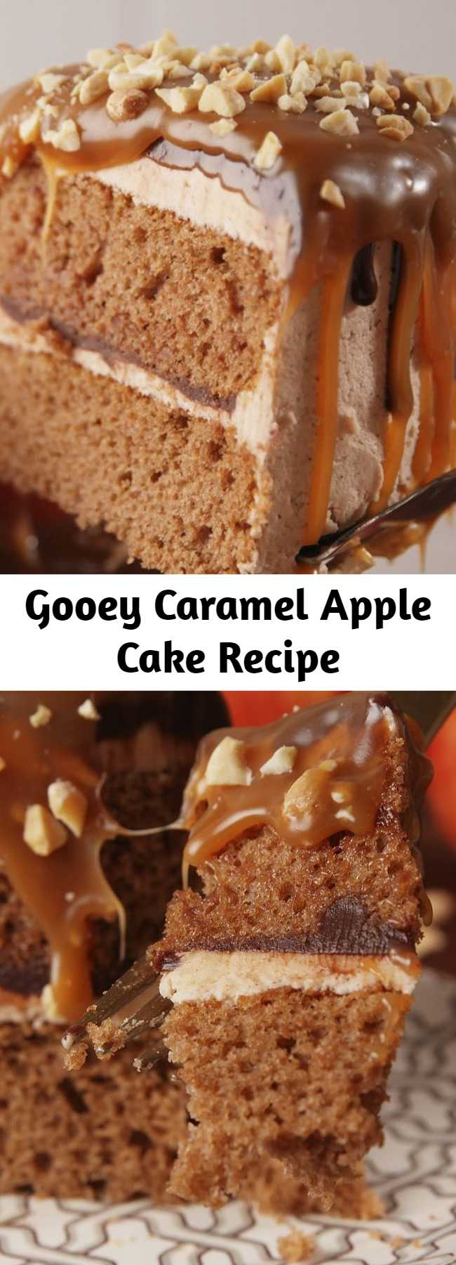 Gooey Caramel Apple Cake Recipe - This is a next level fall cake. A spiced cake is topped with a layer of caramel and then caramel apples, this cake is gorgeous. Perfect for every fall festivity you have coming your way.