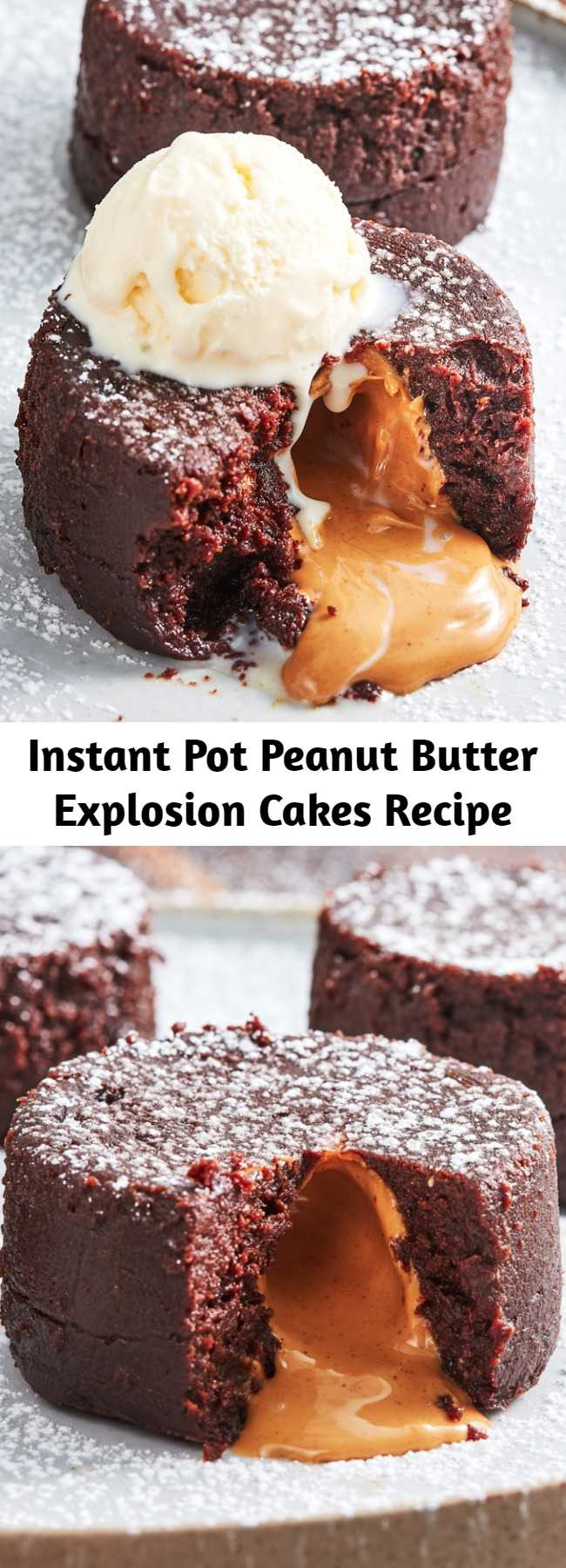 Instant Pot Peanut Butter Explosion Cakes Recipe - The Instant Pot makes the best molten cakes, hands-down. It gently cooks them to pure decadence. The cake is so rich with a perfectly creamy center that's to die for. We're obsessed with this cake, and soon you will be, too.