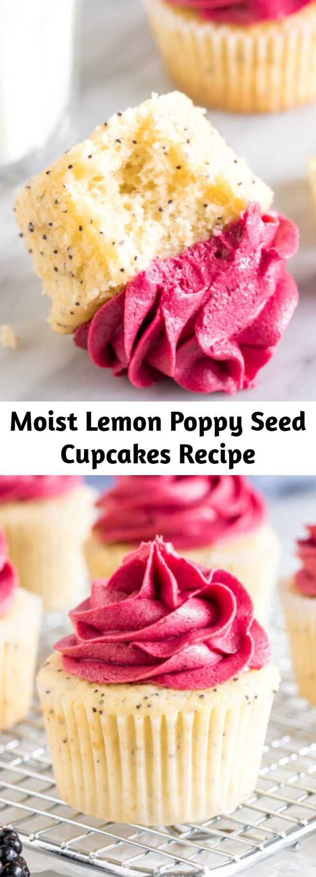 Moist Lemon Poppy Seed Cupcakes Recipe - Moist and tender, these lemon poppy seed cupcakes are bursting with a fresh lemon flavor and filled with tiny, crunchy poppy seeds. The blackberry frosting tastes like biting into fresh berries, and the beautiful color combination makes these absolutely stunning.