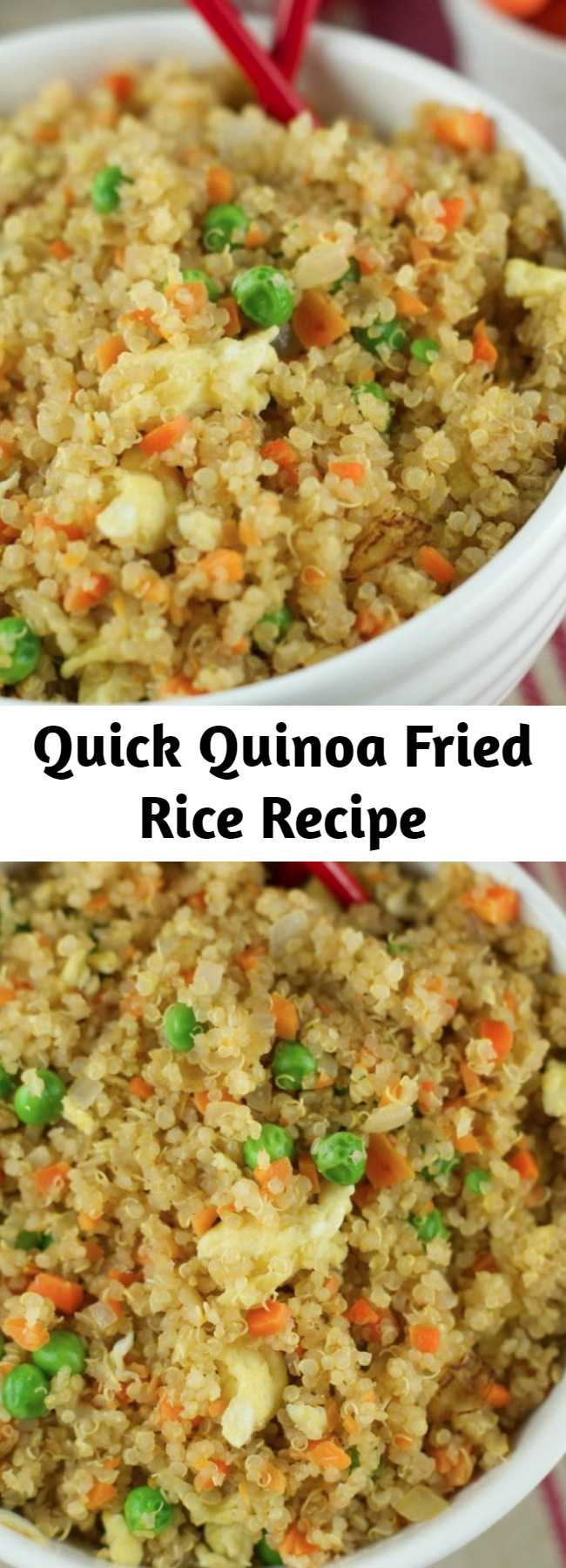 Quick Quinoa Fried Rice Recipe - This Quinoa Fried Recipe requires only 10 minutes to make and it's so delicious. Fresh veggies and quinoa make a healthy and satisfying combination. Try it!