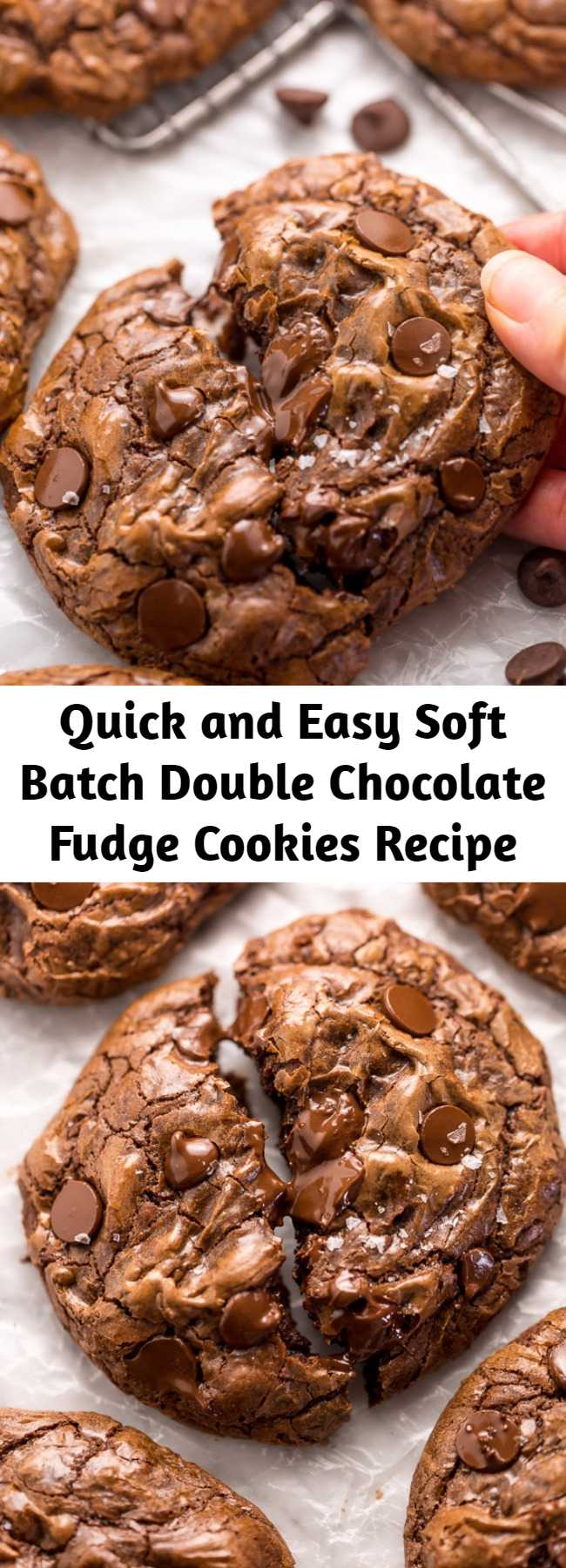 Quick and Easy Soft Batch Double Chocolate Fudge Cookies Recipe - These Soft Batch Double Chocolate Fudge Cookies are for CHOCOLATE LOVERS only!!! Full of intense chocolate fudge flavor, these cookies basically melt in your mouth. So good with a glass of milk!