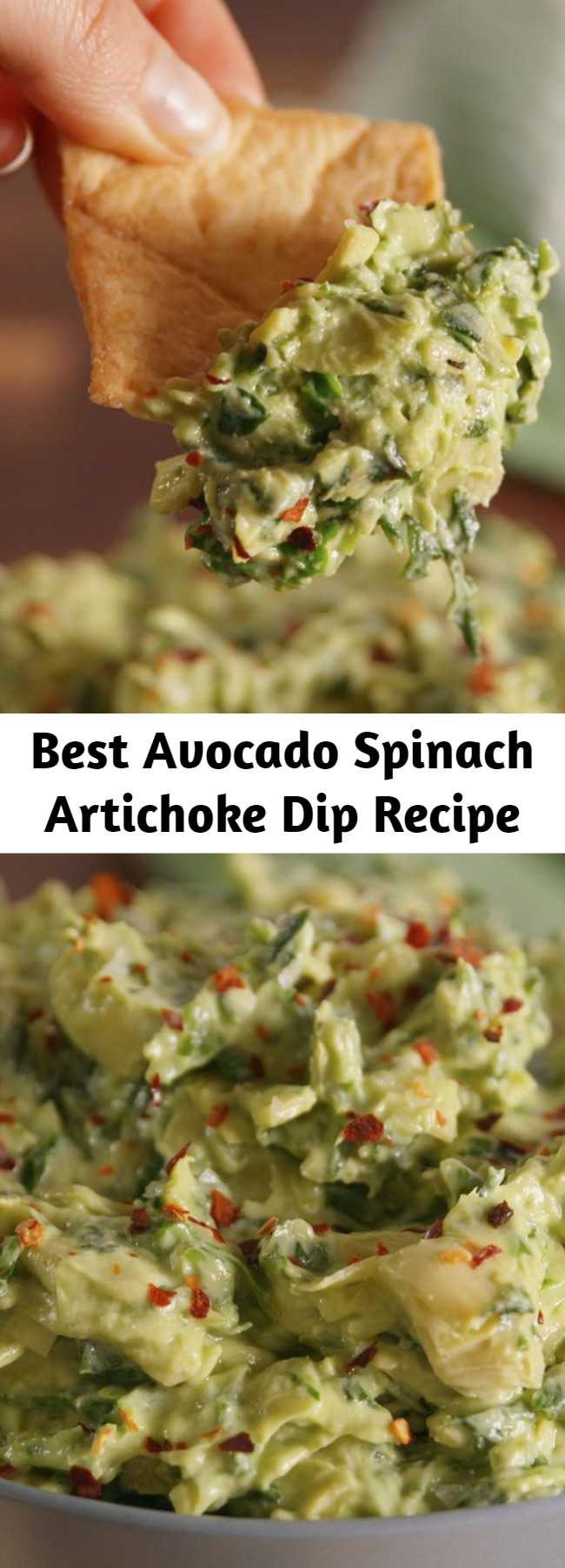 Best Avocado Spinach Artichoke Dip Recipe - Adding avocado to spinach artichoke dip is seriously life changing. The avocado adds such amazing flavor to the classic dip.