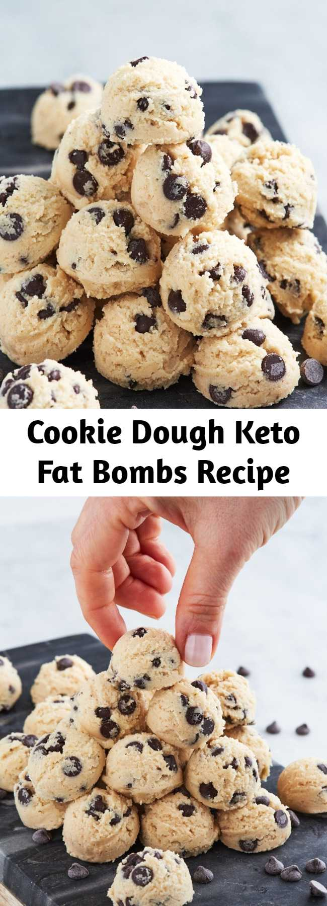 Cookie Dough Keto Fat Bombs Recipe - We brings you a recipe for a dessert bite that won't through you off your keto cycle. These are the keto-friendly way to eat cookie dough right out of the package. #ketorecipes #fatbombs #cookiedough #cookiedoughfatbombs #ketosnack #ketodessert #healthyrecipes #healthysnacks