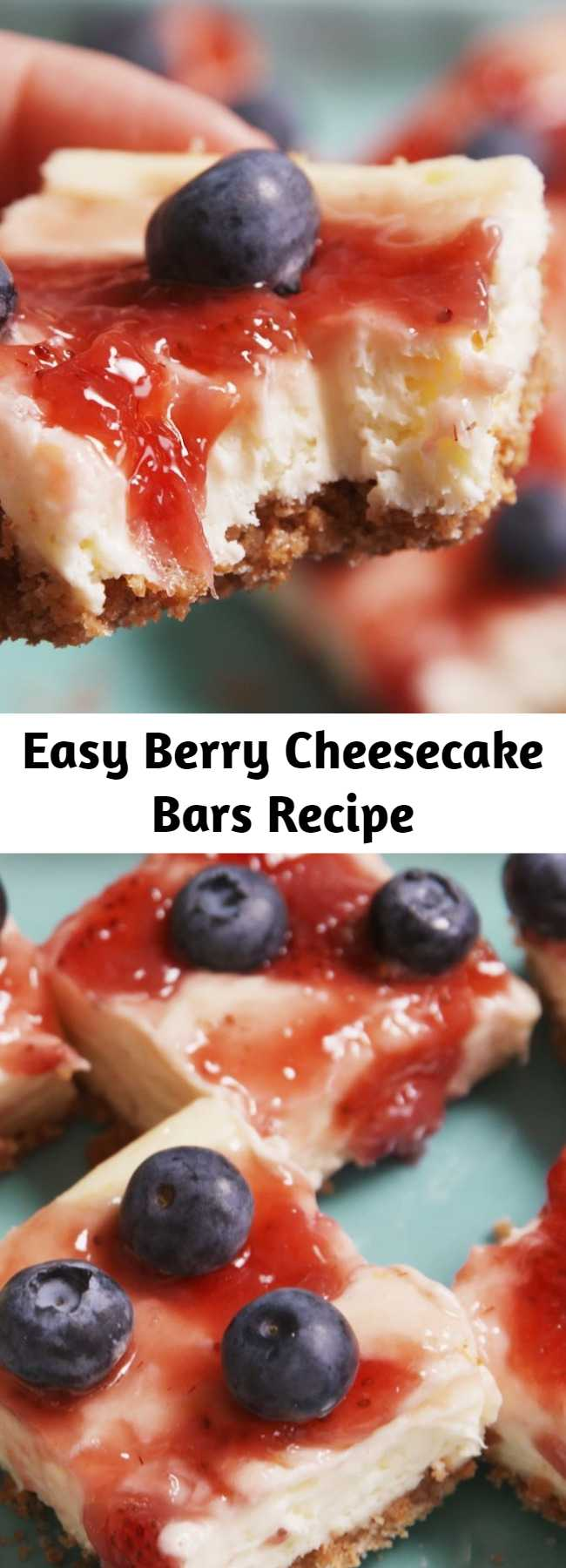Easy Berry Cheesecake Bars Recipe - Treat yourself to a piece of creamy, fruity goodness.