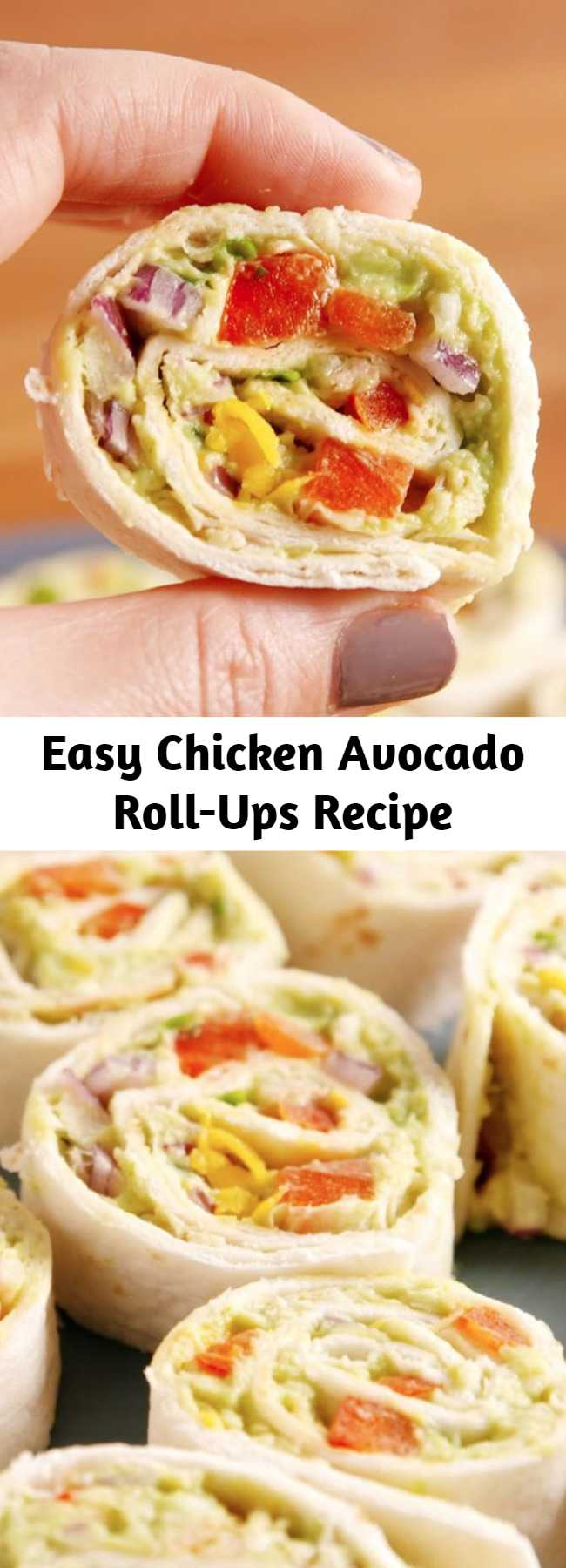 Easy Chicken Avocado Roll-Ups Recipe - These easy chicken avocado salad pinwheels are way more fun than a regular sandwich. These chicken avocado salad pinwheels double as a nutritious lunch and an adorable party appetizer.