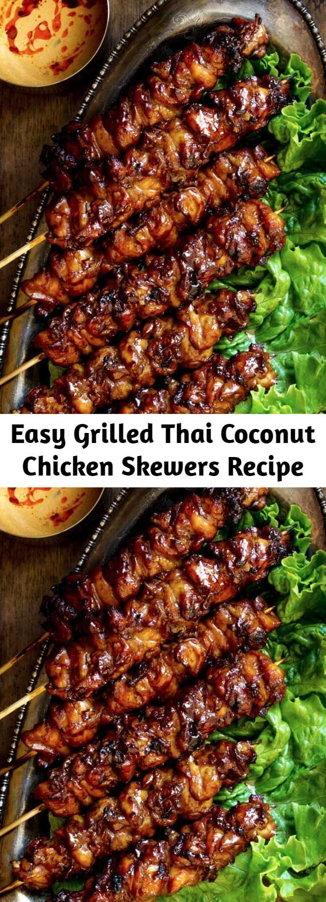 Easy Grilled Thai Coconut Chicken Skewers Recipe - Smoky grilled chicken skewers recipe, marinated in ginger, garlic, coconut cream and soy sauce. Then finished with a sweet coconut cream glaze and served with a simple peanut sauce. Big on flavor, super easy to throw together!