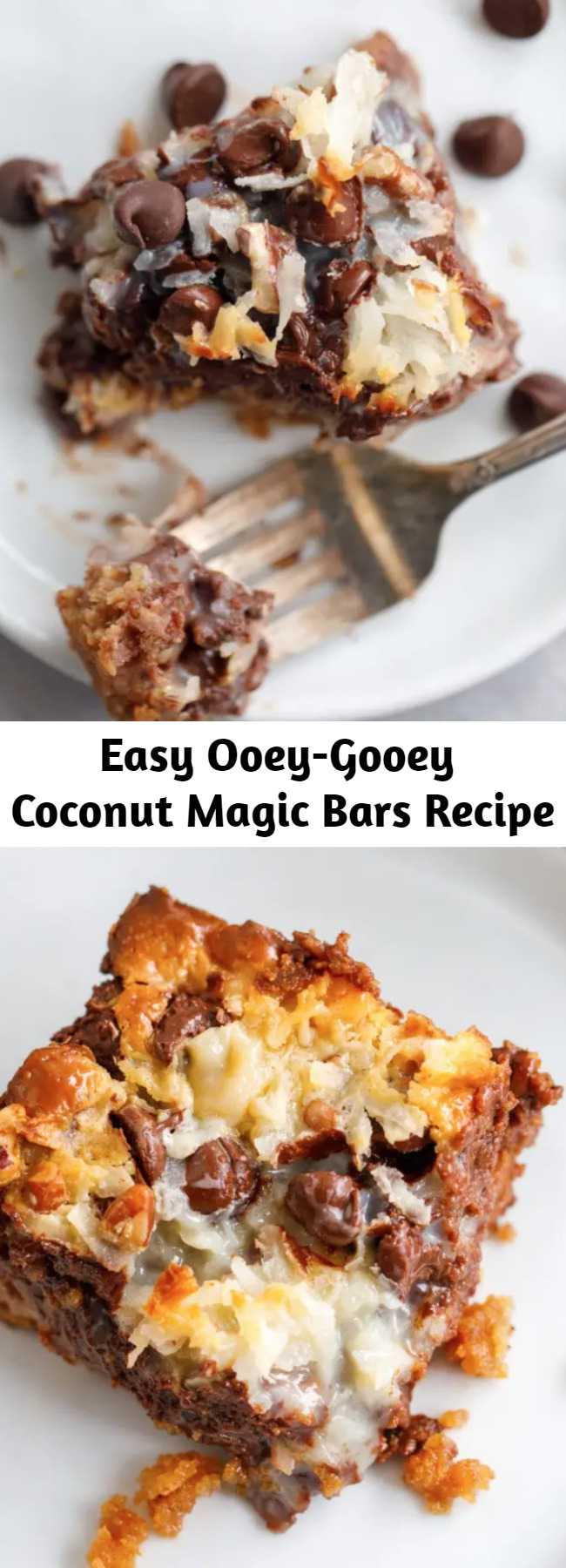 Easy Ooey-Gooey Coconut Magic Bars Recipe - These coconut magic bars are so easy to make that it's almost funny. It doesn't seem like something so TASTY could result from layering a few ingredients in a baking dish. Y'all, these coconut magic bars are like HEAVEN. These ooey-gooey coconut magic cookie bars are my favorite dessert EVER! #Dessert #Coconut #Bars