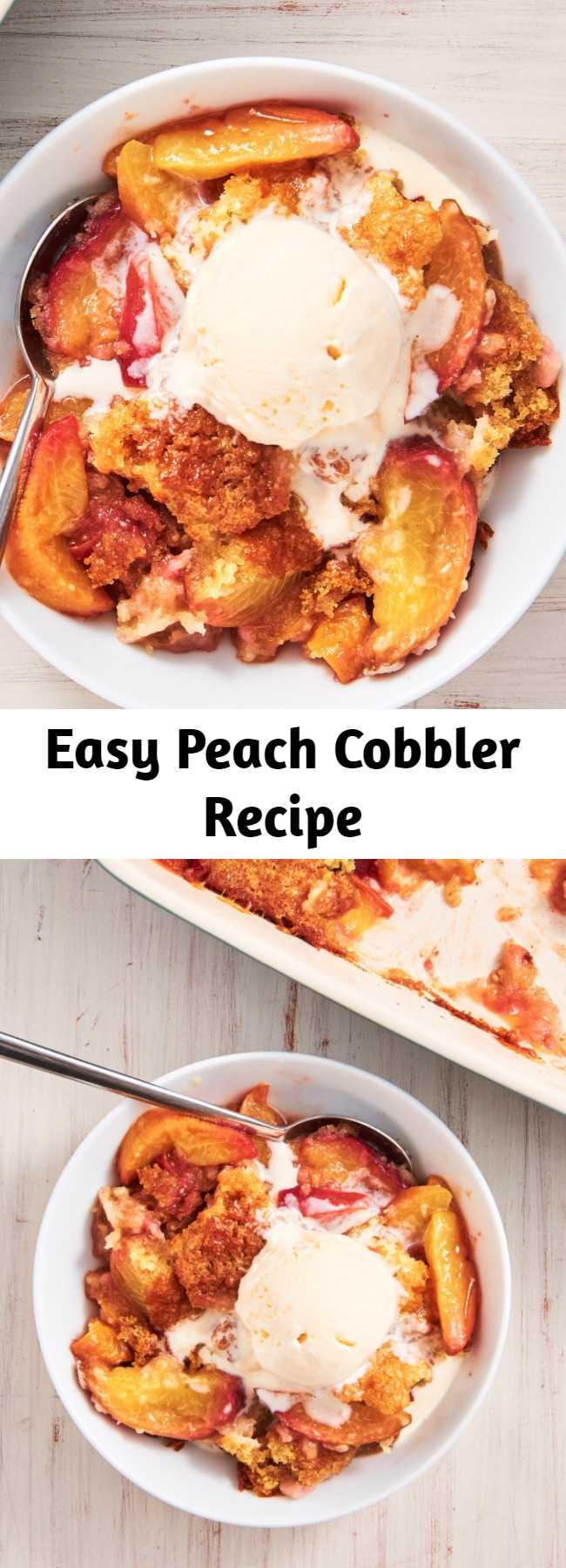Easy Peach Cobbler Recipe - Peach Cobbler has an irresistible crackly-on-the-outside, pillowy-on-the-inside topping that will win everyone over this summer. And it's so easy to throw together for a last minute fourth celebration.